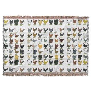 49 Chicken Hens Throw Blanket