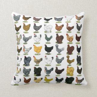 49 Chicken Hens Throw Pillow