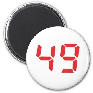 49 fourty-nine red alarm clock digital number 2 inch round magnet