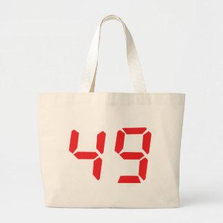 49 fourty-nine red alarm clock digital number canvas bag