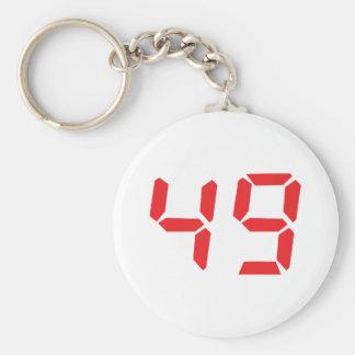 49 fourty-nine red alarm clock digital number basic round button keychain