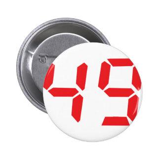 49 fourty-nine red alarm clock digital number pinback button