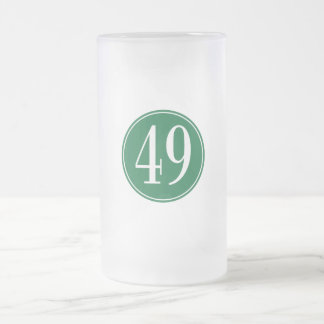 #49 Green Circle Frosted Glass Beer Mug