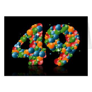 49.o cumpleaños con los números formados de bolas tarjeta de felicitación