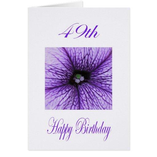 49.o flor feliz de la púrpura del cumpleaños tarjeta de felicitación