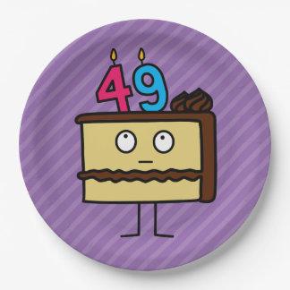 49.o Torta de cumpleaños con las velas Platos De Papel