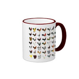 49 Roosters Ringer Coffee Mug