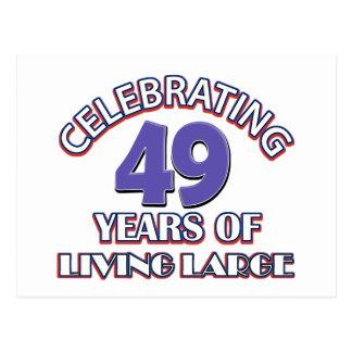 49 years of living large birthday designs postcard