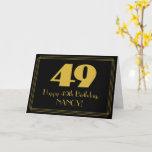 "[ Thumbnail: 49th Birthday: Art Deco Inspired Look ""49"" & Name Card ]"
