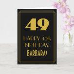 "[ Thumbnail: 49th Birthday ~ Art Deco Inspired Look ""49"" & Name Card ]"