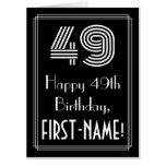 "[ Thumbnail: 49th Birthday — Art Deco Inspired Look ""49"" + Name Card ]"