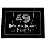 "[ Thumbnail: 49th Birthday — Art Deco Inspired Look ""49"" & Name Gift Bag ]"