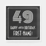 "[ Thumbnail: 49th Birthday: Art Deco Inspired Look ""49"" + Name Napkins ]"
