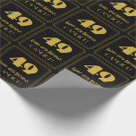 """[ Thumbnail: 49th Birthday – Art Deco Inspired Look """"49"""" & Name Wrapping Paper ]"""