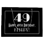 "[ Thumbnail: 49th Birthday: Art Deco Inspired Style ""49"", Name Gift Bag ]"
