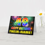 [ Thumbnail: 49th Birthday: Bold, Fun, Fireworks, Rainbow 49 Card ]