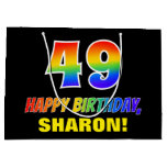 [ Thumbnail: 49th Birthday: Bold, Fun, Simple, Rainbow 49 Gift Bag ]