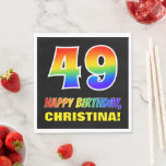 [ Thumbnail: 49th Birthday: Bold, Fun, Simple, Rainbow 49 Napkins ]