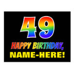[ Thumbnail: 49th Birthday: Bold, Fun, Simple, Rainbow 49 Postcard ]