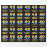 [ Thumbnail: 49th Birthday: Bold, Fun, Simple, Rainbow 49 Wrapping Paper ]