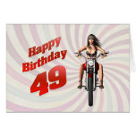 49th Birthday card with a motorbike girl