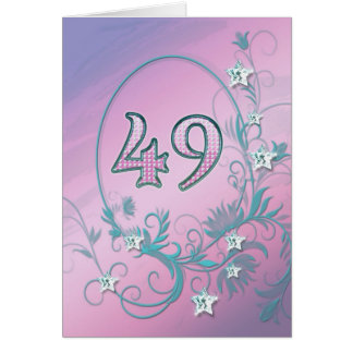 49th Birthday card with diamond stars