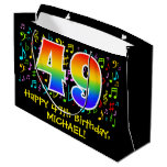[ Thumbnail: 49th Birthday - Colorful Music Symbols, Rainbow 49 Gift Bag ]
