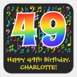 [ Thumbnail: 49th Birthday: Colorful Music Symbols, Rainbow 49 Sticker ]