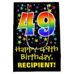 [ Thumbnail: 49th Birthday: Colorful Stars Pattern & Rainbow 49 Gift Bag ]