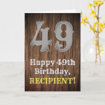 [ Thumbnail: 49th Birthday: Country Western Inspired Look, Name Card ]