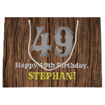 [ Thumbnail: 49th Birthday: Country Western Inspired Look, Name Gift Bag ]