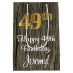 [ Thumbnail: 49th Birthday: Elegant Faux Gold Look #, Faux Wood Gift Bag ]