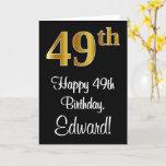 [ Thumbnail: 49th Birthday ~ Elegant Luxurious Faux Gold Look # Card ]