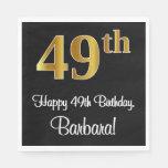 [ Thumbnail: 49th Birthday ~ Elegant Luxurious Faux Gold Look # Napkins ]