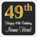 [ Thumbnail: 49th Birthday – Elegant Luxurious Faux Gold Look # Sticker ]