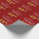 [ Thumbnail: 49th Birthday: Elegant, Red, Faux Gold Look Wrapping Paper ]