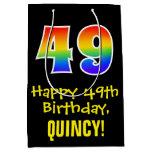 "[ Thumbnail: 49th Birthday: Fun, Bold, Colorful, Rainbow ""49"" Gift Bag ]"
