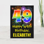 [ Thumbnail: 49th Birthday: Fun Fireworks Pattern + Rainbow 49 Card ]