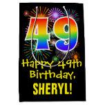 [ Thumbnail: 49th Birthday: Fun Fireworks Pattern + Rainbow 49 Gift Bag ]