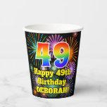 [ Thumbnail: 49th Birthday: Fun Fireworks Pattern + Rainbow 49 ]