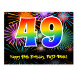 [ Thumbnail: 49th Birthday – Fun Fireworks Pattern + Rainbow 49 Postcard ]