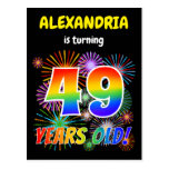 "[ Thumbnail: 49th Birthday - Fun Fireworks, Rainbow Look ""49"" Postcard ]"