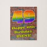 [ Thumbnail: 49th Birthday: Fun Graffiti-Inspired Rainbow 49 Jigsaw Puzzle ]