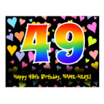[ Thumbnail: 49th Birthday: Fun Hearts Pattern, Rainbow 49 Postcard ]