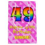 [ Thumbnail: 49th Birthday: Fun Pink Hearts Stripes; Rainbow 49 Gift Bag ]