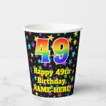 [ Thumbnail: 49th Birthday: Fun Stars Pattern and Rainbow 49 ]