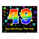 [ Thumbnail: 49th Birthday: Fun Stars Pattern, Rainbow 49, Name Postcard ]