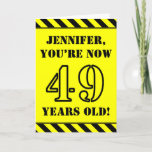 [ Thumbnail: 49th Birthday: Fun Stencil Style Text, Custom Name Card ]