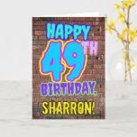 [ Thumbnail: 49th Birthday - Fun, Urban Graffiti Inspired Look Card ]