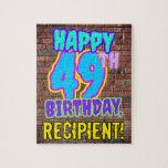[ Thumbnail: 49th Birthday ~ Fun, Urban Graffiti Inspired Look Jigsaw Puzzle ]